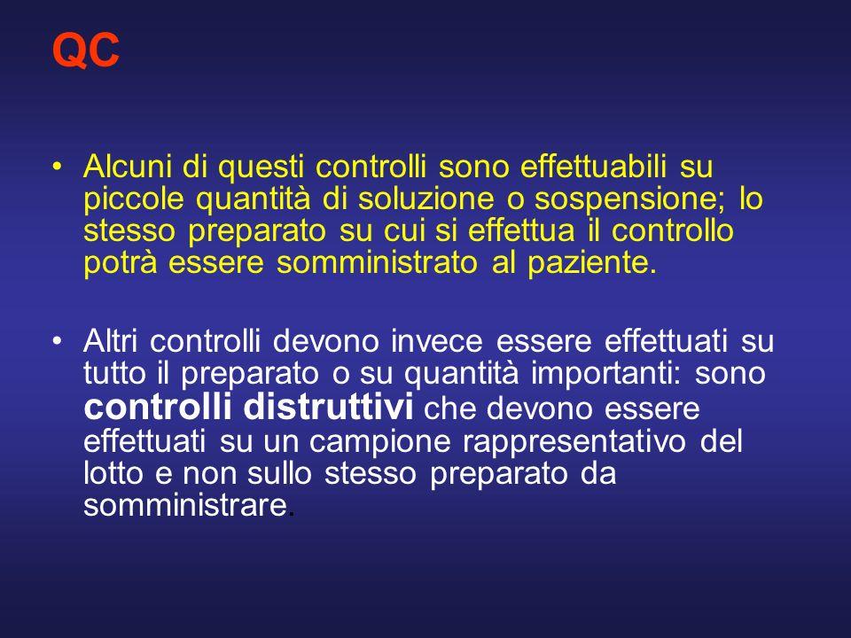 QC Alcuni di questi controlli sono effettuabili su piccole quantità di soluzione o sospensione; lo stesso preparato su cui si effettua il controllo po