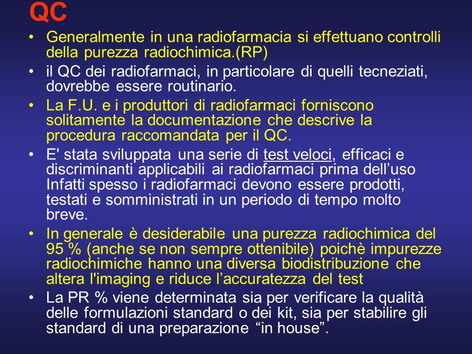 QC Generalmente in una radiofarmacia si effettuano controlli della purezza radiochimica.(RP) il QC dei radiofarmaci, in particolare di quelli tecnezia