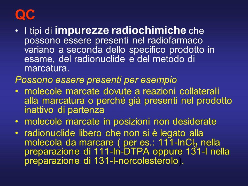 QC I tipi di impurezze radiochimiche che possono essere presenti nel radiofarmaco variano a seconda dello specifico prodotto in esame, del radionuclid