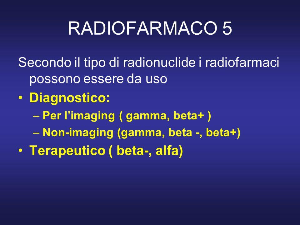 RADIOFARMACO 5 Secondo il tipo di radionuclide i radiofarmaci possono essere da uso Diagnostico: –Per limaging ( gamma, beta+ ) –Non-imaging (gamma, b