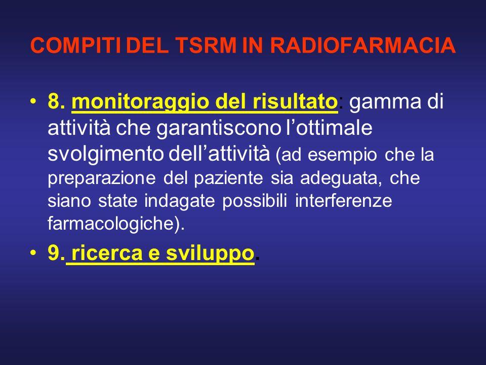 COMPITI DEL TSRM IN RADIOFARMACIA 8. monitoraggio del risultato: gamma di attività che garantiscono lottimale svolgimento dellattività (ad esempio che