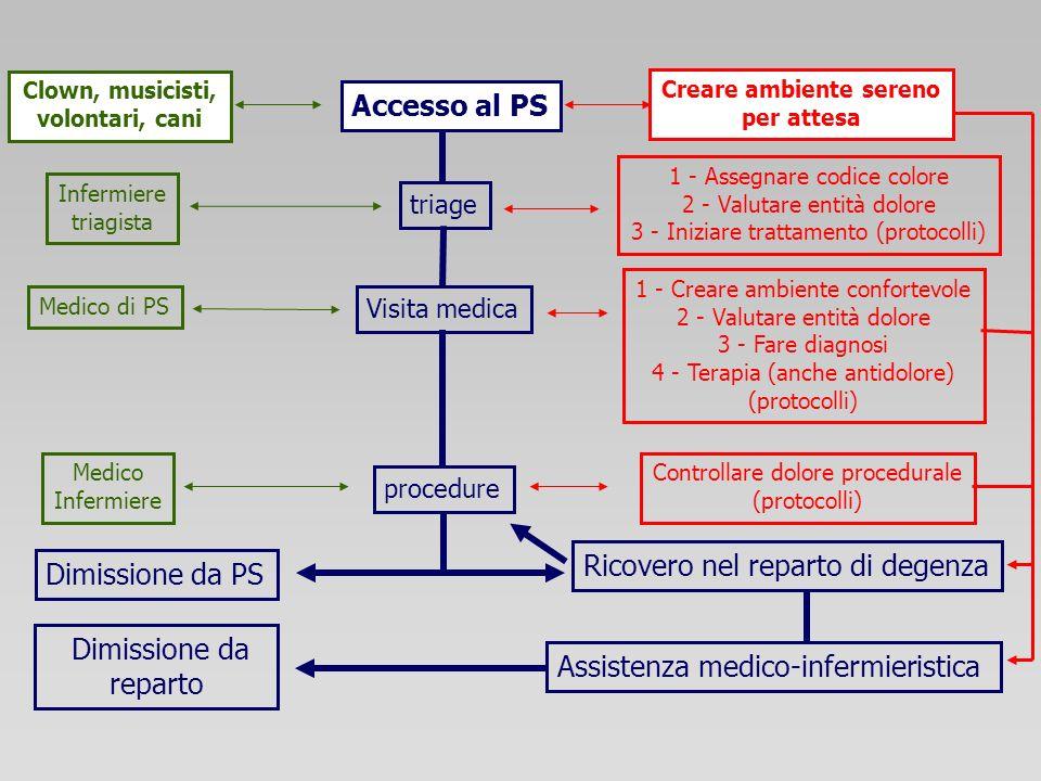 Accesso al PS Dimissione da PS Ricovero nel reparto di degenza triage Visita medica procedure Assistenza medico-infermieristica Clown, musicisti, volo