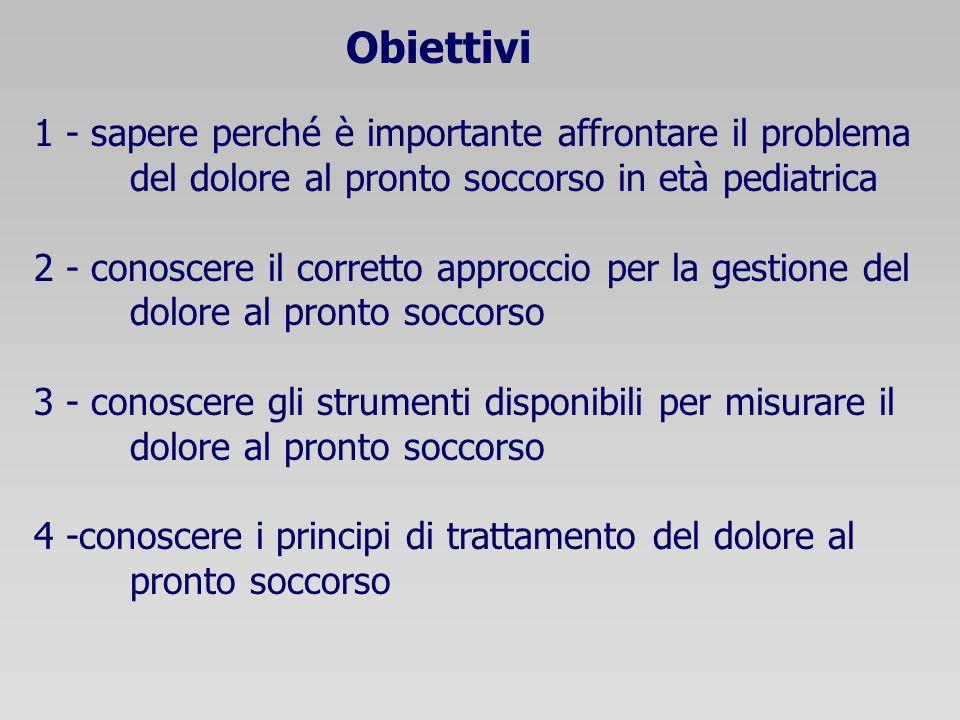 Obiettivi 1 - sapere perché è importante affrontare il problema del dolore al pronto soccorso in età pediatrica 2 - conoscere il corretto approccio pe