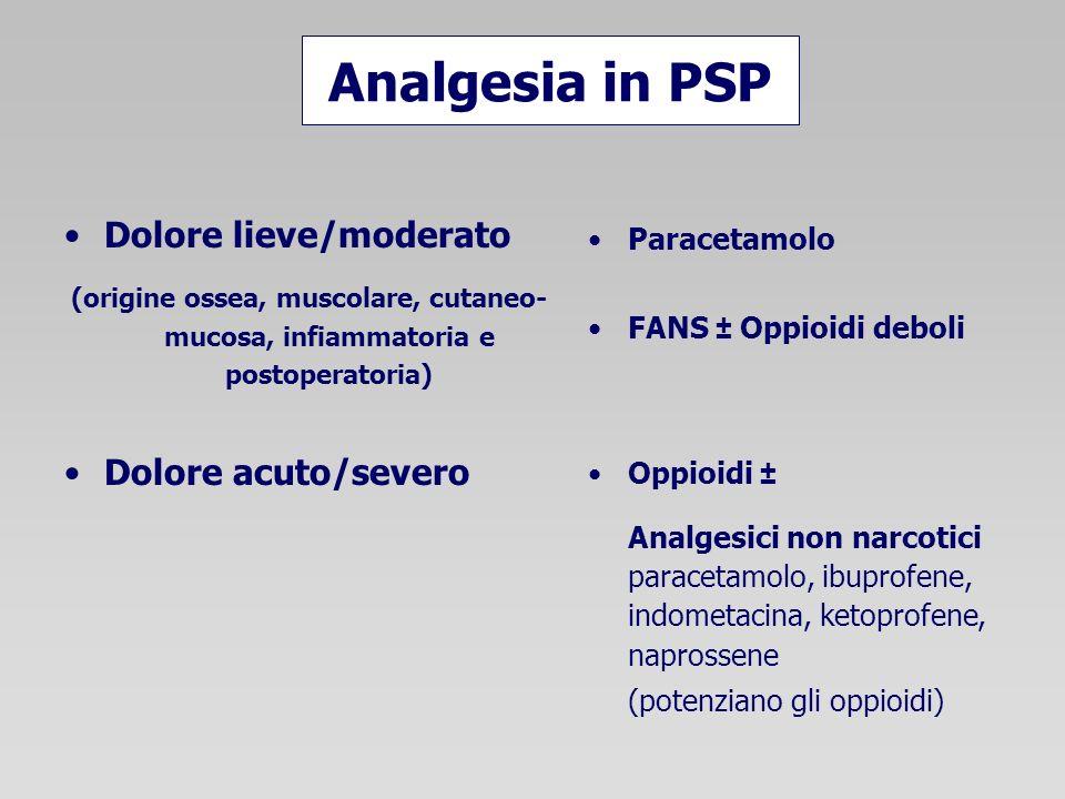 Analgesia in PSP Dolore lieve/moderato (origine ossea, muscolare, cutaneo- mucosa, infiammatoria e postoperatoria) Dolore acuto/severo Paracetamolo FANS ± Oppioidi deboli Oppioidi ± Analgesici non narcotici paracetamolo, ibuprofene, indometacina, ketoprofene, naprossene (potenziano gli oppioidi)