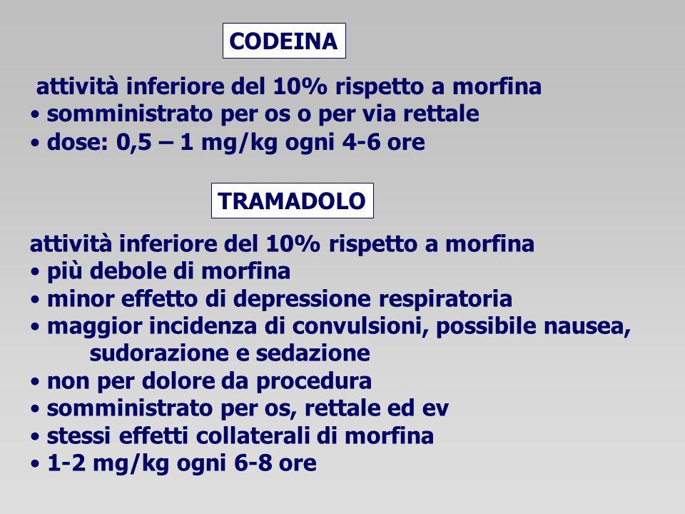 attività inferiore del 10% rispetto a morfina somministrato per os o per via rettale dose: 0,5 – 1 mg/kg ogni 4-6 ore CODEINA TRAMADOLO attività inferiore del 10% rispetto a morfina più debole di morfina minor effetto di depressione respiratoria maggior incidenza di convulsioni, possibile nausea, sudorazione e sedazione non per dolore da procedura somministrato per os, rettale ed ev stessi effetti collaterali di morfina 1-2 mg/kg ogni 6-8 ore