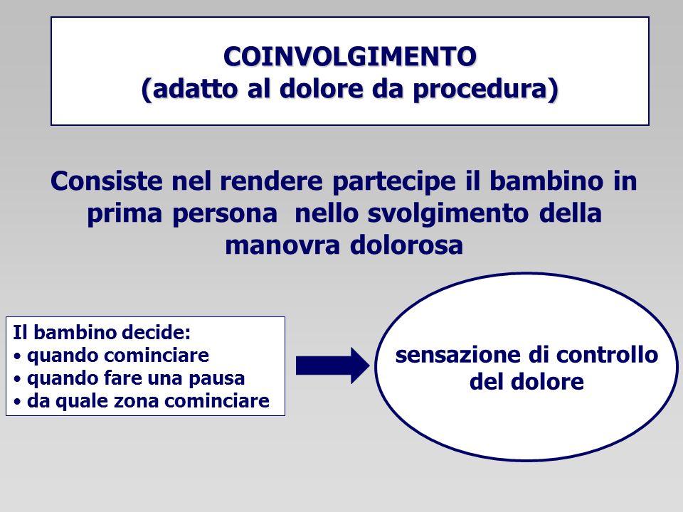 COINVOLGIMENTO (adatto al dolore da procedura) Consiste nel rendere partecipe il bambino in prima persona nello svolgimento della manovra dolorosa Il