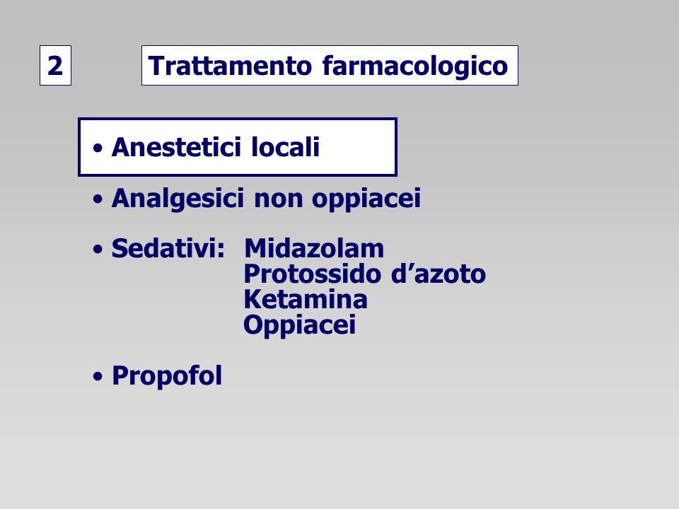 Trattamento farmacologico2 Anestetici locali Analgesici non oppiacei Sedativi: Midazolam Protossido dazoto Ketamina Oppiacei Propofol
