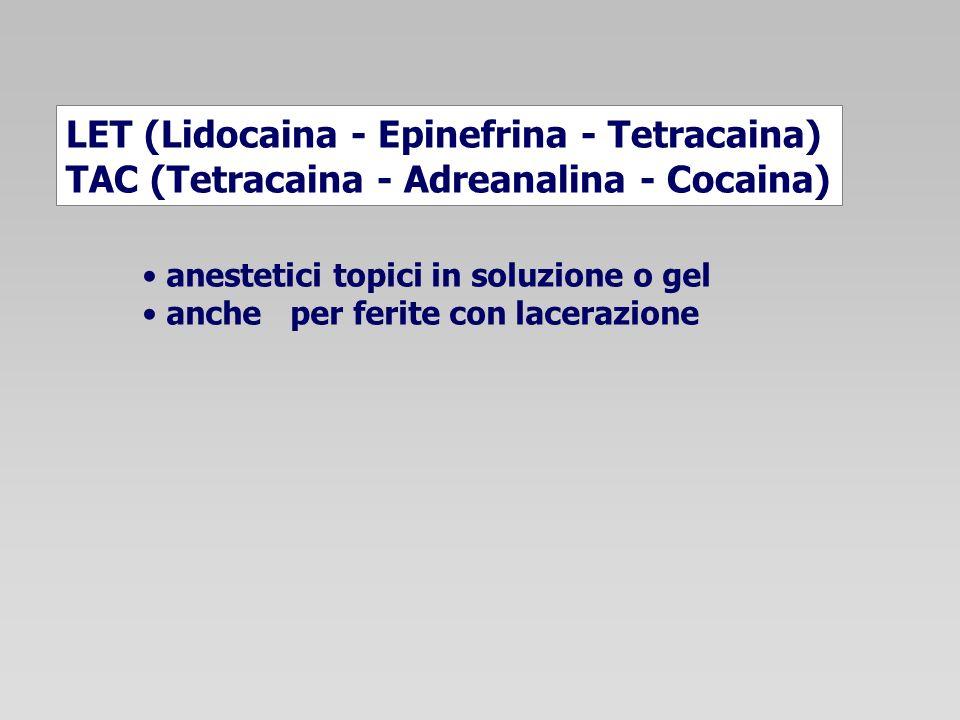LET (Lidocaina - Epinefrina - Tetracaina) TAC (Tetracaina - Adreanalina - Cocaina) anestetici topici in soluzione o gel anche per ferite con lacerazio