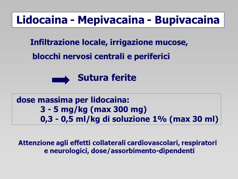 Sutura ferite Lidocaina - Mepivacaina - Bupivacaina Infiltrazione locale, irrigazione mucose, blocchi nervosi centrali e periferici Attenzione agli ef