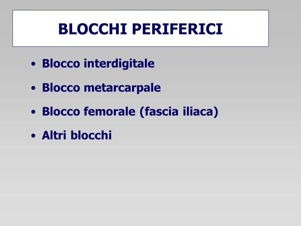 BLOCCHI PERIFERICI Blocco interdigitale Blocco metarcarpale Blocco femorale (fascia iliaca) Altri blocchi