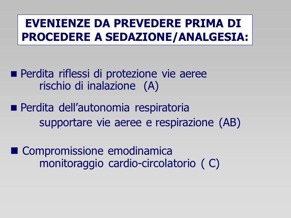 Perdita riflessi di protezione vie aeree rischio di inalazione (A) Perdita dellautonomia respiratoria supportare vie aeree e respirazione (AB) Compromissione emodinamica monitoraggio cardio-circolatorio ( C) EVENIENZE DA PREVEDERE PRIMA DI PROCEDERE A SEDAZIONE/ANALGESIA: