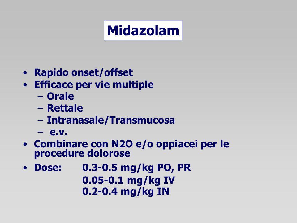 Midazolam Rapido onset/offset Efficace per vie multiple –Orale –Rettale –Intranasale/Transmucosa – e.v. Combinare con N2O e/o oppiacei per le procedur