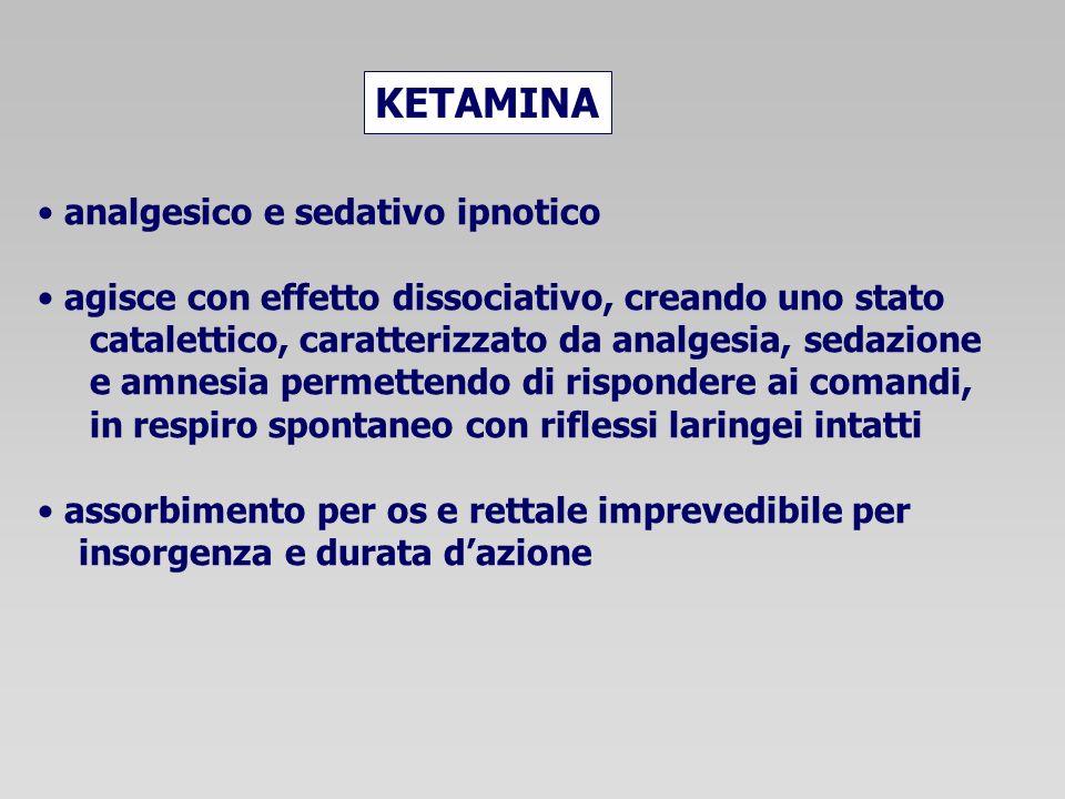 analgesico e sedativo ipnotico agisce con effetto dissociativo, creando uno stato catalettico, caratterizzato da analgesia, sedazione e amnesia permet