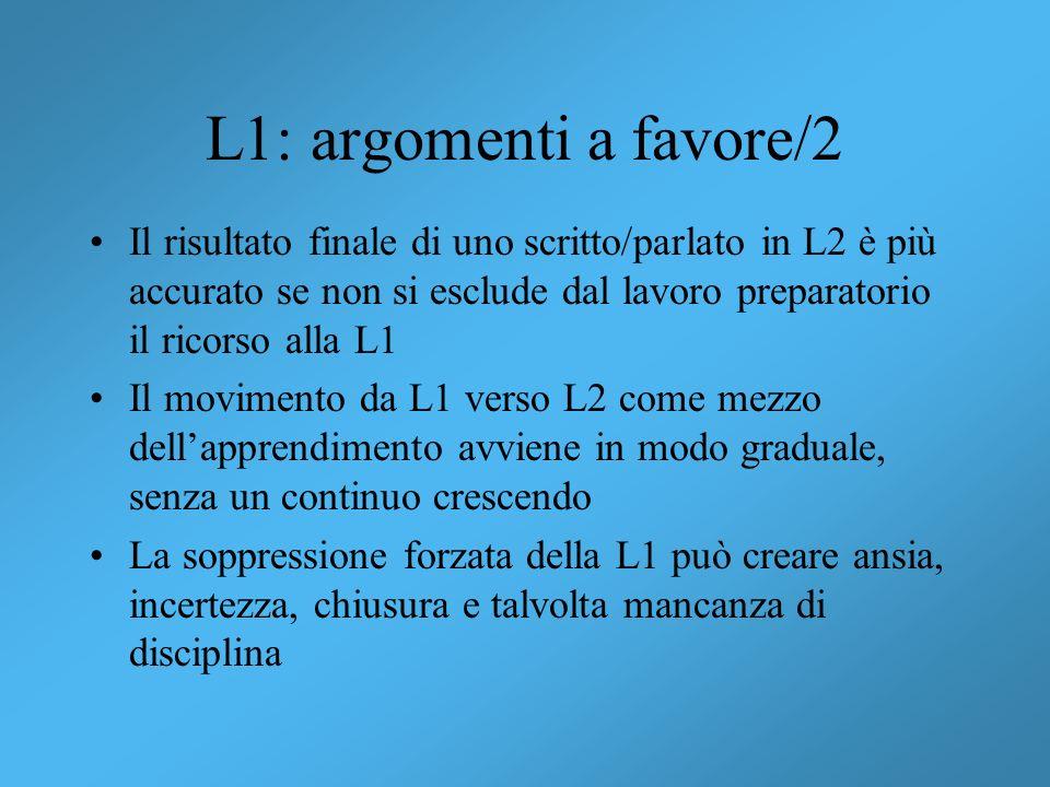 L1: argomenti a favore/2 Il risultato finale di uno scritto/parlato in L2 è più accurato se non si esclude dal lavoro preparatorio il ricorso alla L1