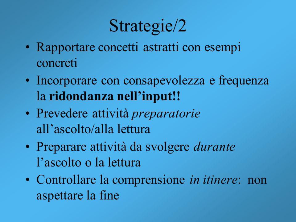 Strategie/2 Rapportare concetti astratti con esempi concreti Incorporare con consapevolezza e frequenza la ridondanza nellinput!! Prevedere attività p