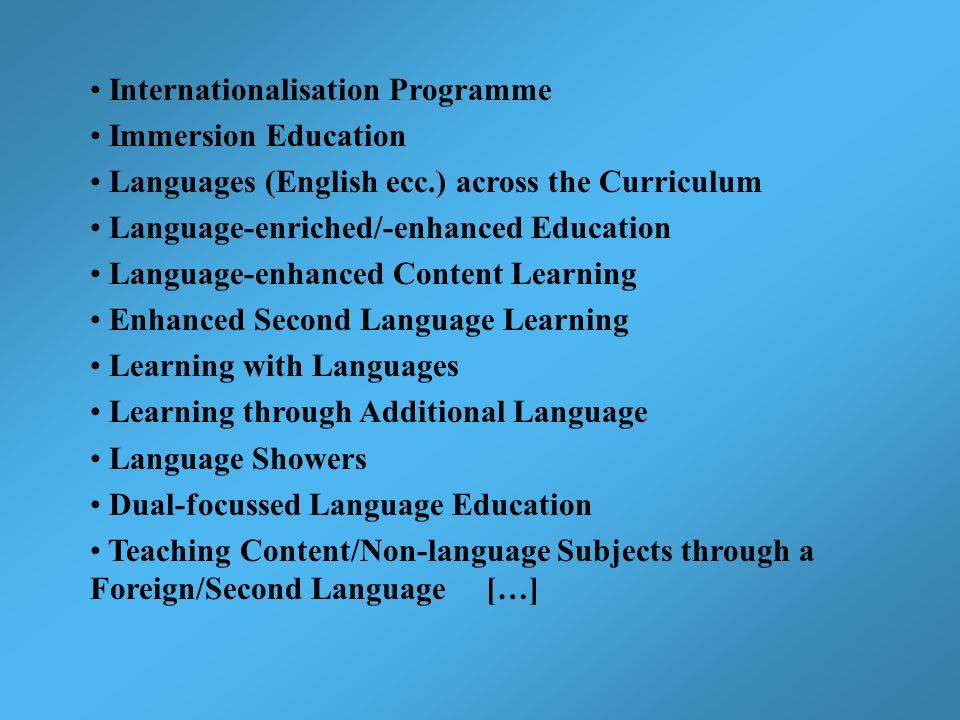 Internationalisation Programme Immersion Education Languages (English ecc.) across the Curriculum Language-enriched/-enhanced Education Language-enhan