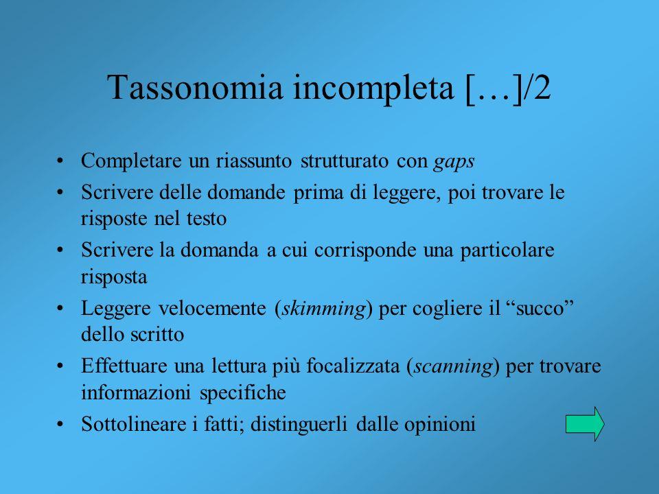 Tassonomia incompleta […]/2 Completare un riassunto strutturato con gaps Scrivere delle domande prima di leggere, poi trovare le risposte nel testo Sc