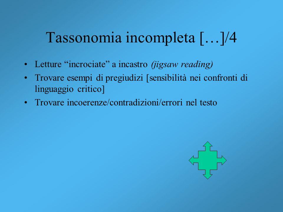 Tassonomia incompleta […]/4 Letture incrociate a incastro (jigsaw reading) Trovare esempi di pregiudizi [sensibilità nei confronti di linguaggio criti