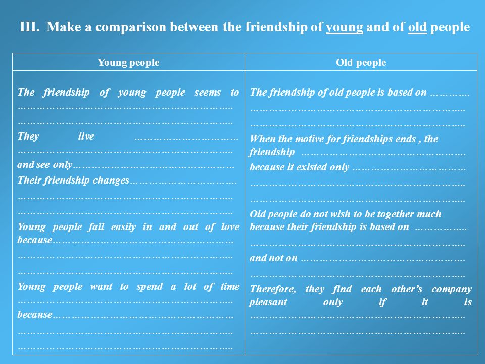 III. Make a comparison between the friendship of young and of old people The friendship of old people is based on …………. ………………………………………………………….. When