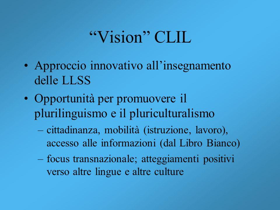 Vision CLIL Approccio innovativo allinsegnamento delle LLSS Opportunità per promuovere il plurilinguismo e il pluriculturalismo –cittadinanza, mobilit