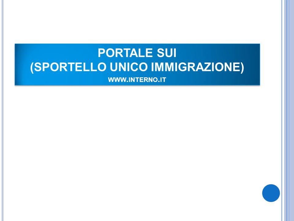 PORTALE SUI (SPORTELLO UNICO IMMIGRAZIONE) WWW. INTERNO. IT