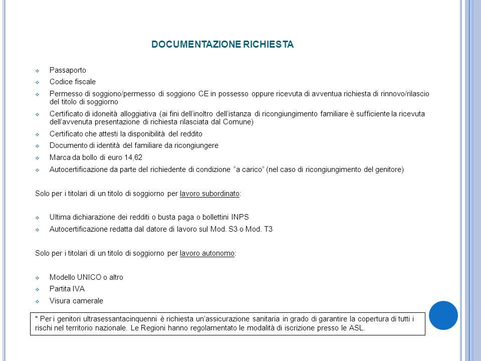 DOCUMENTAZIONE RICHIESTA Passaporto Codice fiscale Permesso di soggiono/permesso di soggiono CE in possesso oppure ricevuta di avventua richiesta di r