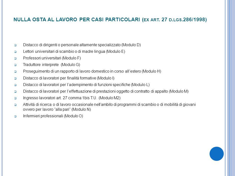 NULLA OSTA AL LAVORO PER CASI PARTICOLARI ( EX ART. 27 D. LGS.286/1998) Distacco di dirigenti o personale altamente specializzato (Modulo D) Lettori u