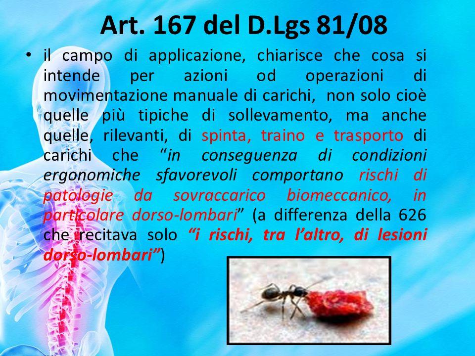 Art. 167 del D.Lgs 81/08 il campo di applicazione, chiarisce che cosa si intende per azioni od operazioni di movimentazione manuale di carichi, non so