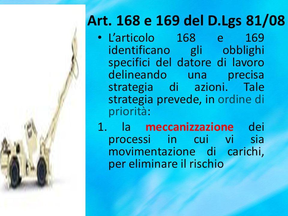 Art. 168 e 169 del D.Lgs 81/08 Larticolo 168 e 169 identificano gli obblighi specifici del datore di lavoro delineando una precisa strategia di azioni