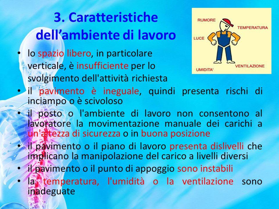 3. Caratteristiche dellambiente di lavoro lo spazio libero, in particolare verticale, è insufficiente per lo svolgimento dell'attività richiesta il pa