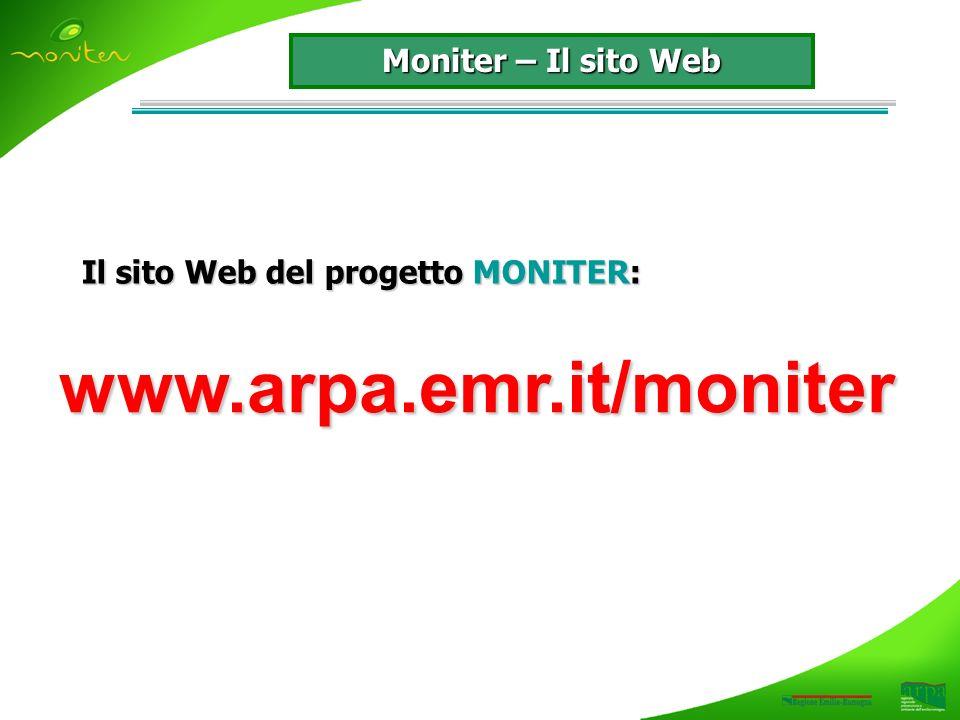 Il sito Web del progetto MONITER: www.arpa.emr.it/moniter Moniter – Il sito Web
