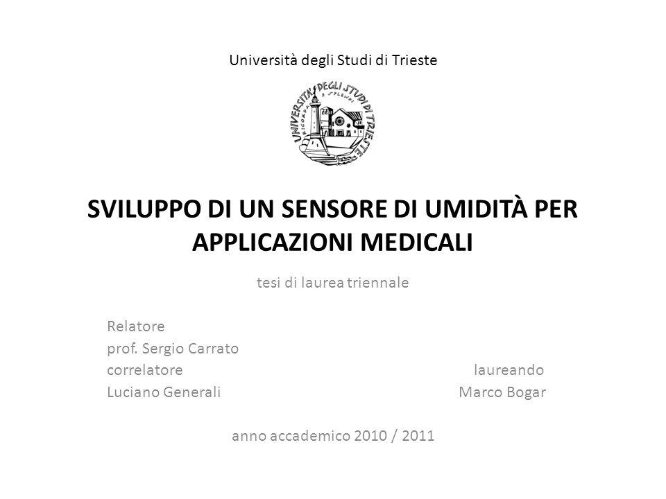 SVILUPPO DI UN SENSORE DI UMIDITÀ PER APPLICAZIONI MEDICALI tesi di laurea triennale Relatore prof.