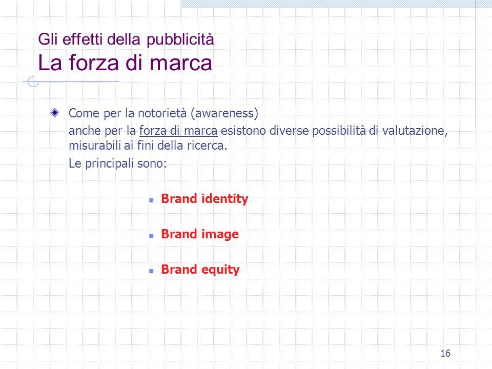 16 Gli effetti della pubblicità La forza di marca Come per la notorietà (awareness) anche per la forza di marca esistono diverse possibilità di valuta