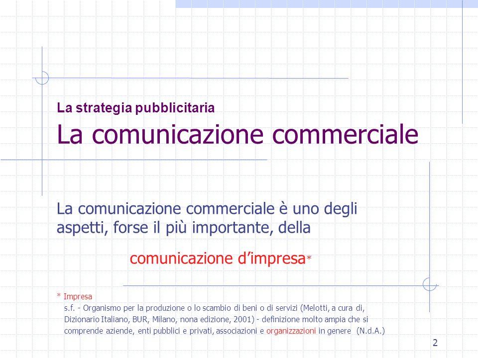 2 La strategia pubblicitaria La comunicazione commerciale La comunicazione commerciale è uno degli aspetti, forse il più importante, della comunicazio