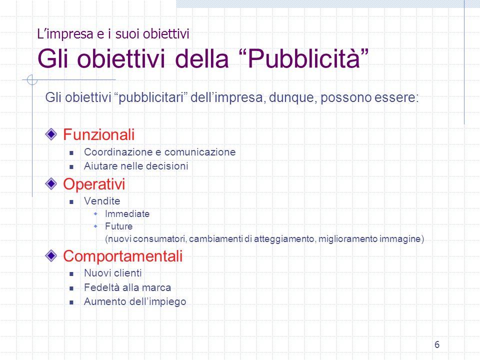 6 Limpresa e i suoi obiettivi Gli obiettivi della Pubblicità Gli obiettivi pubblicitari dellimpresa, dunque, possono essere: Funzionali Coordinazione