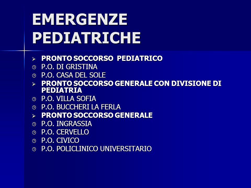PATOLOGIE DI ACCESSO PEDIATRICO IN P.S.