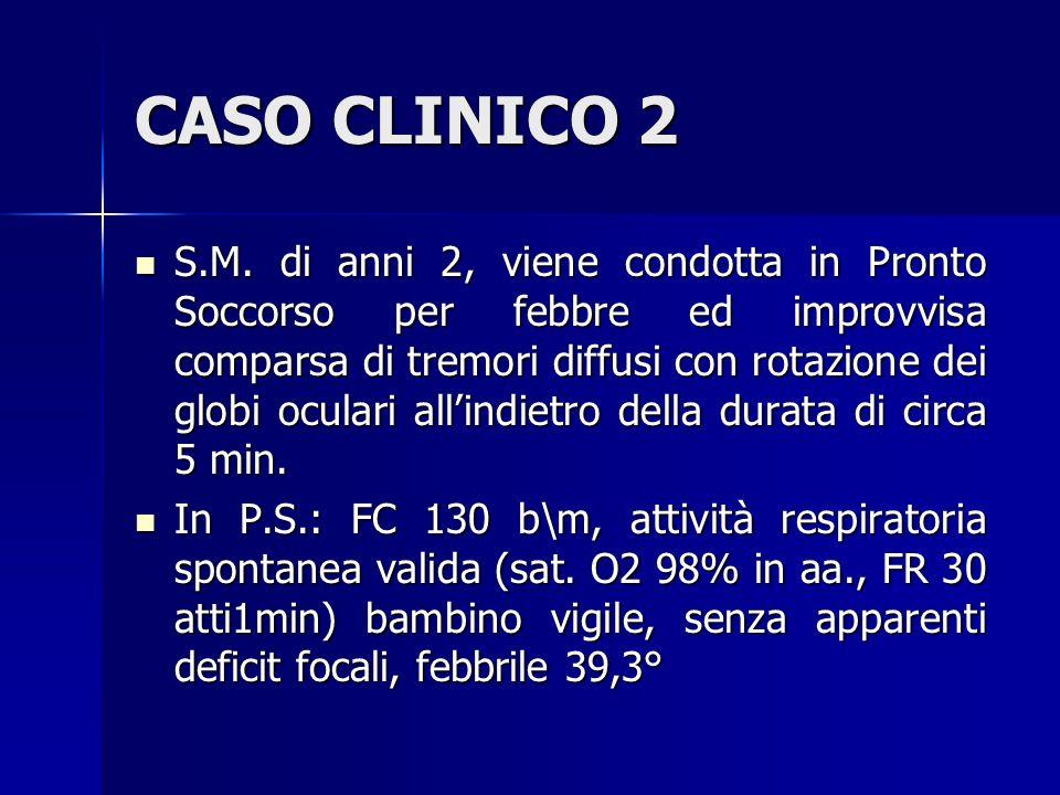 CASO CLINICO 2 Durante la valutazione clinica episodio critico caratterizzato da scosse tonico- cloniche generalizzate.