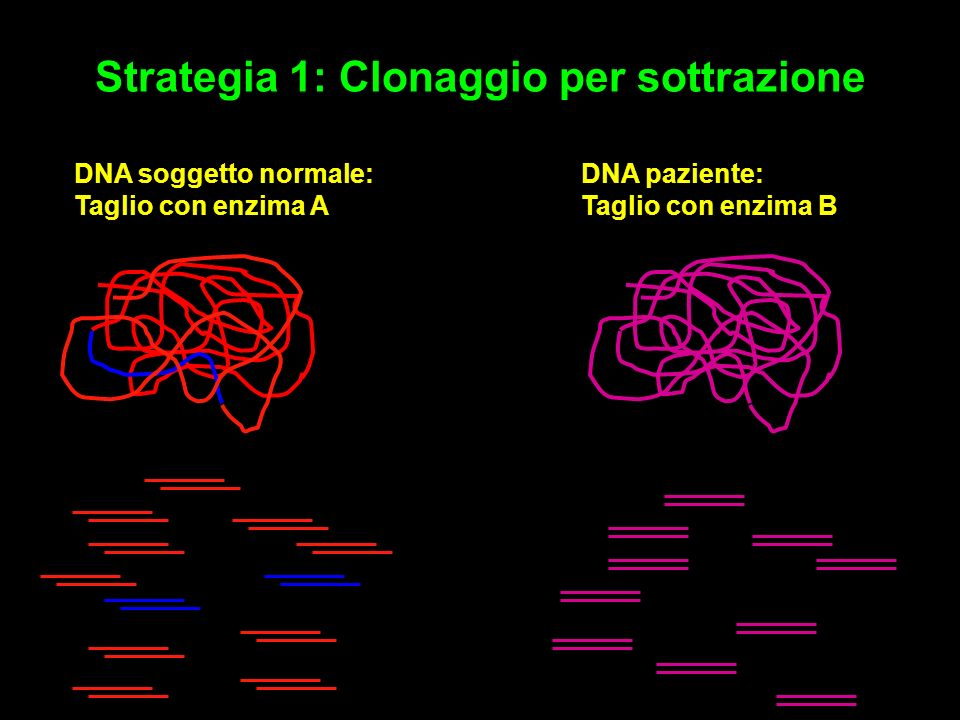 Strategia 1: Clonaggio per sottrazione DNA paziente: Taglio con enzima B DNA soggetto normale: Taglio con enzima A