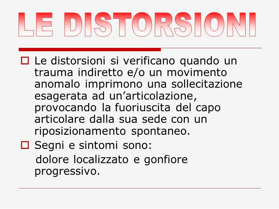 Le distorsioni si verificano quando un trauma indiretto e/o un movimento anomalo imprimono una sollecitazione esagerata ad unarticolazione, provocando