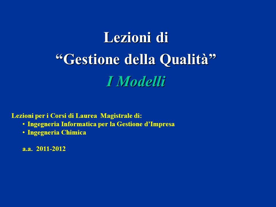 Lezioni di Gestione della Qualità I Modelli Lezioni per i Corsi di Laurea Magistrale di: Ingegneria Informatica per la Gestione dImpresa Ingegneria Ch