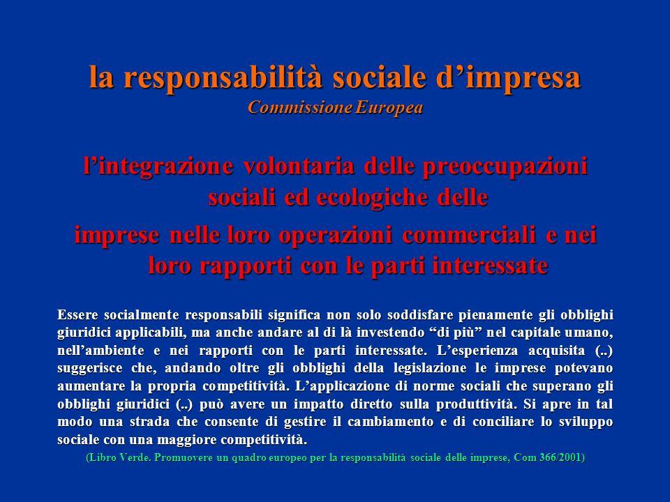 la responsabilità sociale dimpresa Commissione Europea lintegrazione volontaria delle preoccupazioni sociali ed ecologiche delle imprese nelle loro op