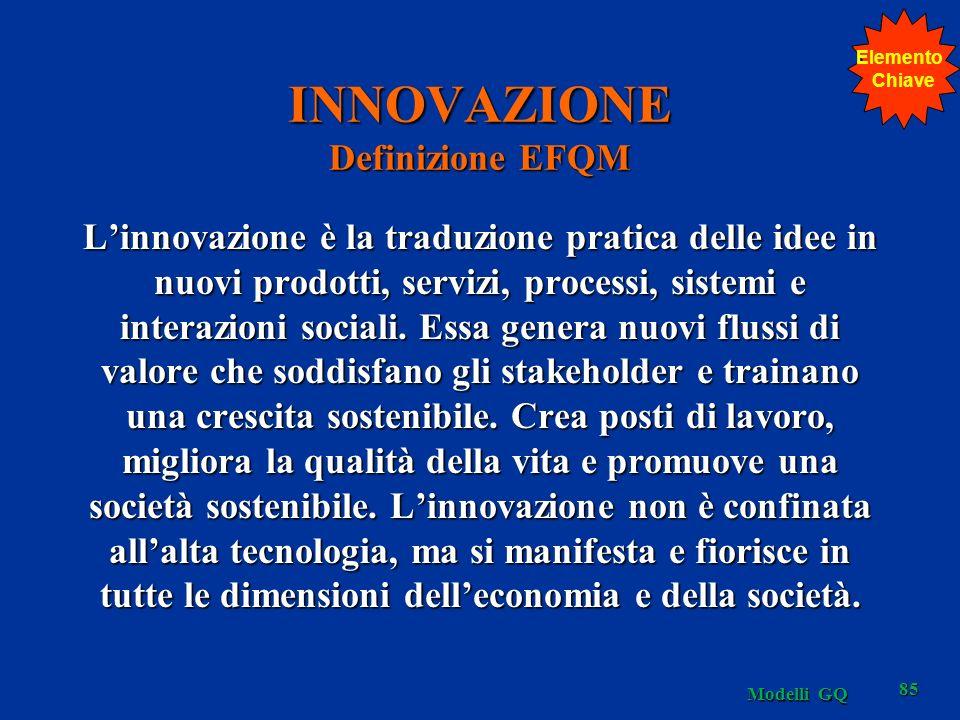 Modelli GQ 85 INNOVAZIONE Definizione EFQM Linnovazione è la traduzione pratica delle idee in nuovi prodotti, servizi, processi, sistemi e interazioni