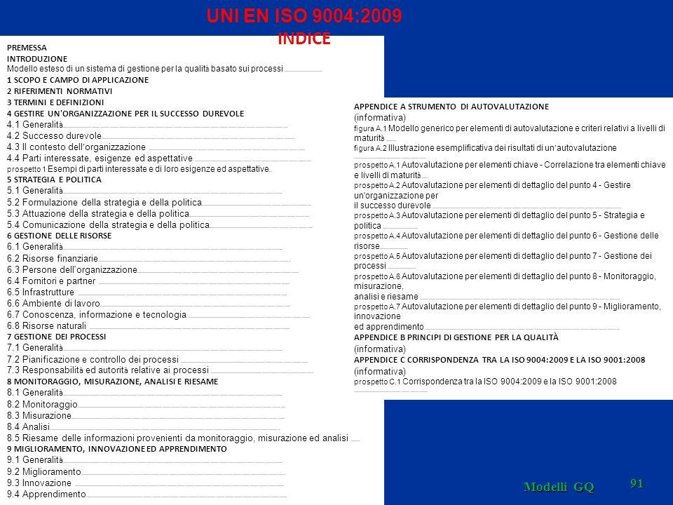 Modelli GQ 91 PREMESSA INTRODUZIONE Modello esteso di un sistema di gestione per la qualit à basato sui processi........................... 1 SCOPO E