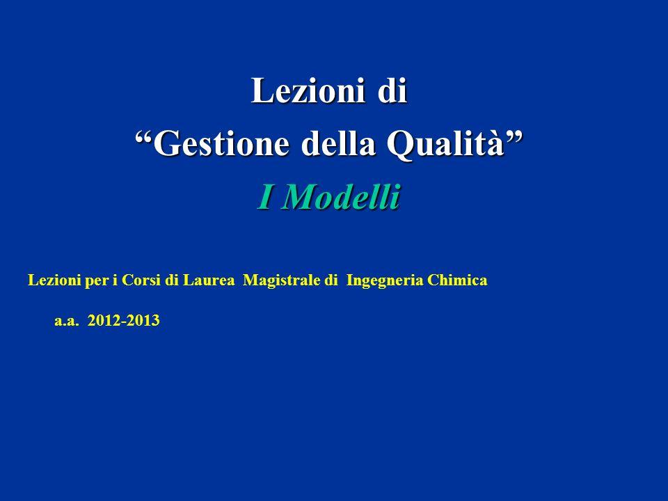Lezioni di Gestione della Qualità I Modelli Lezioni per i Corsi di Laurea Magistrale di Ingegneria Chimica a.a. 2012-2013