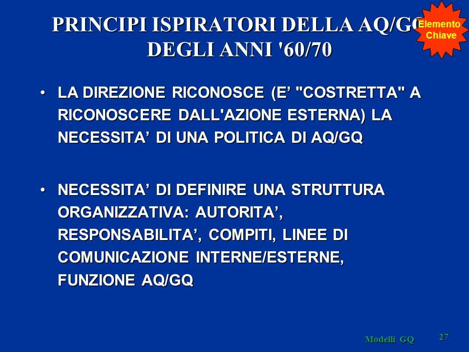 PRINCIPI ISPIRATORI DELLA AQ/GQ DEGLI ANNI 60/70 LA DIREZIONE RICONOSCE (E COSTRETTA A RICONOSCERE DALL AZIONE ESTERNA) LA NECESSITA DI UNA POLITICA DI AQ/GQLA DIREZIONE RICONOSCE (E COSTRETTA A RICONOSCERE DALL AZIONE ESTERNA) LA NECESSITA DI UNA POLITICA DI AQ/GQ NECESSITA DI DEFINIRE UNA STRUTTURA ORGANIZZATIVA: AUTORITA, RESPONSABILITA, COMPITI, LINEE DI COMUNICAZIONE INTERNE/ESTERNE, FUNZIONE AQ/GQNECESSITA DI DEFINIRE UNA STRUTTURA ORGANIZZATIVA: AUTORITA, RESPONSABILITA, COMPITI, LINEE DI COMUNICAZIONE INTERNE/ESTERNE, FUNZIONE AQ/GQ Elemento Chiave 27 Modelli GQ