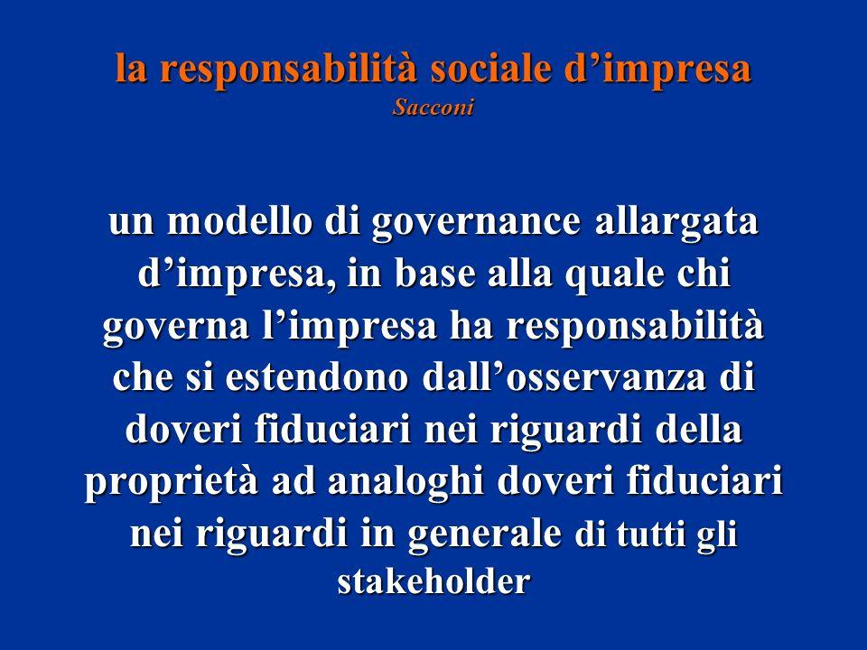 un modello di governance allargata dimpresa, in base alla quale chi governa limpresa ha responsabilità che si estendono dallosservanza di doveri fiduciari nei riguardi della proprietà ad analoghi doveri fiduciari nei riguardi in generale di tutti gli stakeholder la responsabilità sociale dimpresa Sacconi