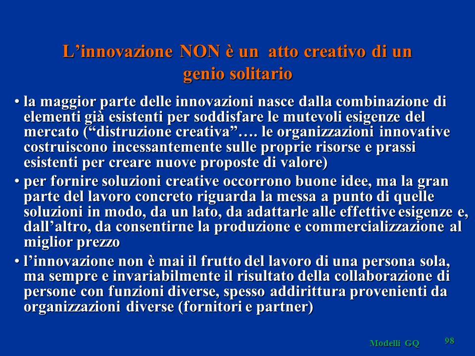 Modelli GQ 98 Linnovazione NON è un atto creativo di un genio solitario la maggior parte delle innovazioni nasce dalla combinazione di elementi già esistenti per soddisfare le mutevoli esigenze del mercato (distruzione creativa….