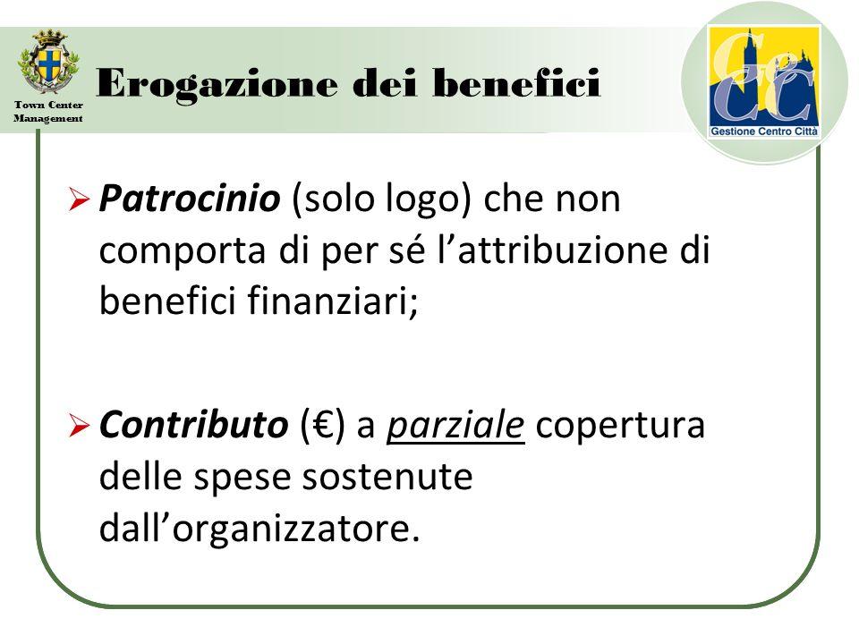 Town Center Management Erogazione dei benefici Patrocinio (solo logo) che non comporta di per sé lattribuzione di benefici finanziari; Contributo () a parziale copertura delle spese sostenute dallorganizzatore.