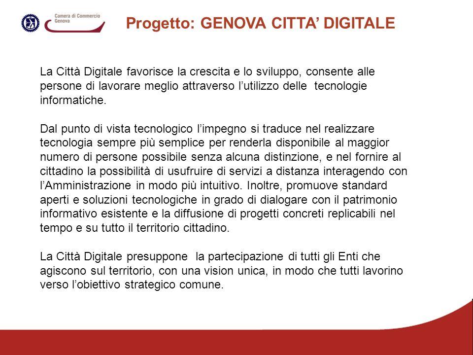 Progetto: GENOVA CITTA DIGITALE La Città Digitale favorisce la crescita e lo sviluppo, consente alle persone di lavorare meglio attraverso lutilizzo delle tecnologie informatiche.