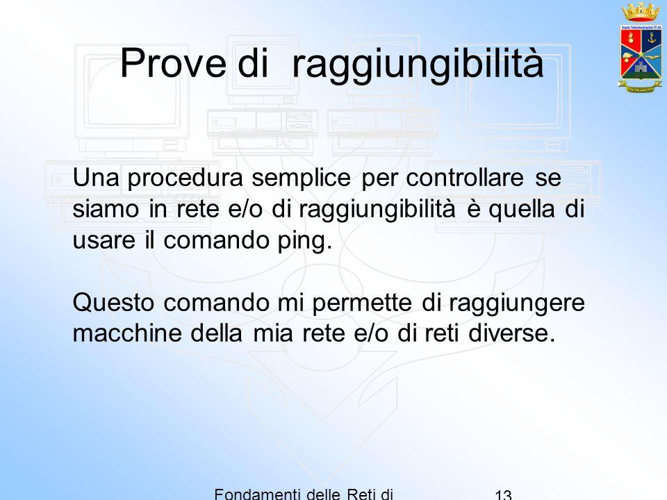 Fondamenti delle Reti di Computer 13 Prove di raggiungibilità Una procedura semplice per controllare se siamo in rete e/o di raggiungibilità è quella